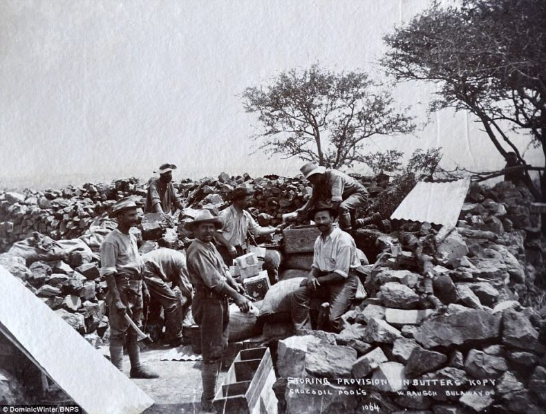 The Mlimo, their spiritual leader, convinced his people that the 4,000 settlers were responsible for the drought, locust plagues and the cattle disease ravaging the country at the time. Pictured, troops sorting through their provisions