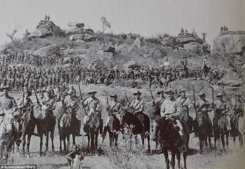 In March 1896, the Matabele revolted against the authority of the British South Africa Company (pictured)