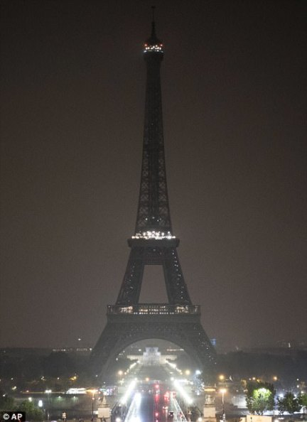 In Paris, France, lights were switched off on the Eiffel Tower in respect for the victims