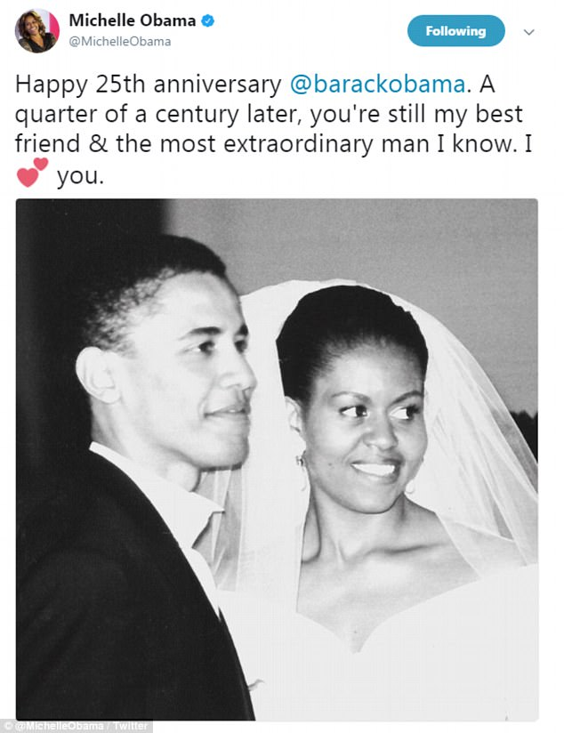 In 2017, Michelle shared this snap of her and husband Barack on their wedding day, commemorating their 25th wedding anniversary