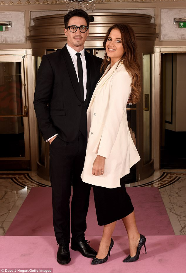 Glam: Binky Felstead and beau Josh 'JP' Patterson took a break from their parental duties as they attended the Amy Winehouse Foundation Gala at The Dorchester in London on Thursday