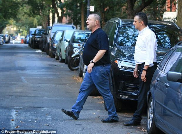 Jobless: Harvey Weinstein (seen here last Friday) was fired from his own firm on Sunday after the board - including his brother - decided he had to go