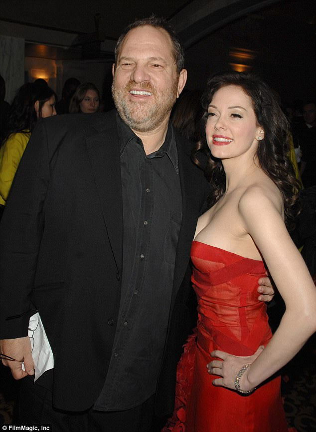 A decade ago: Weinstein and McGowan pictured together at the Grindhouse premiere in Los Angeles back in 2007