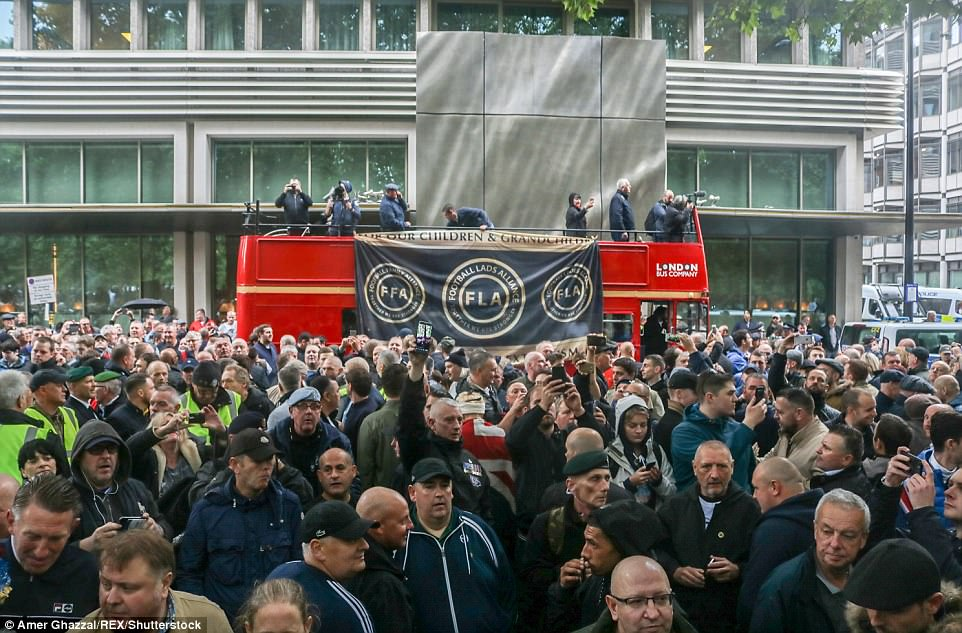 The group says it aims to unite the football family against extremism and flew banners from a London bus claiming to be protecting future generations