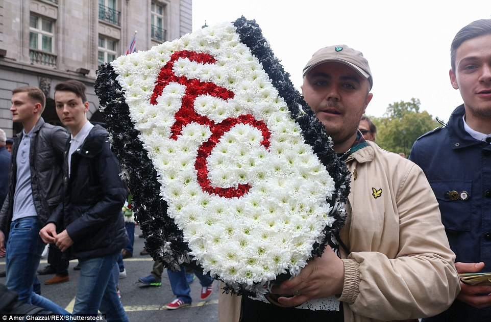 The march through Marble Arch attracted supporters from clubs in the capital and beyond, including Fulham Football Club in west London