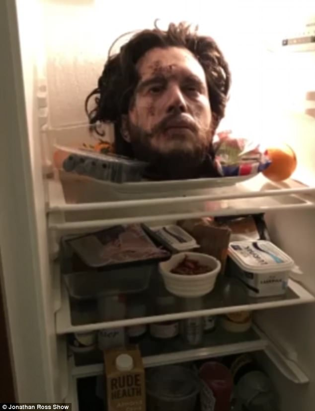 Pictured: The gruesome Game of Thrones prop severed head sat in the couple's fridge