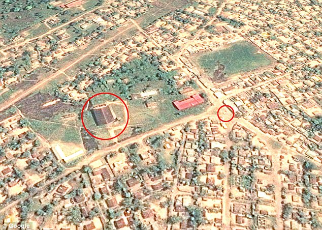 A crowd looked on as the pair were beheaded in Luebo's town square, which is also known as the 'parking lot' (right circle). Circled left is the town's cathedral, which rebels took over during their reign