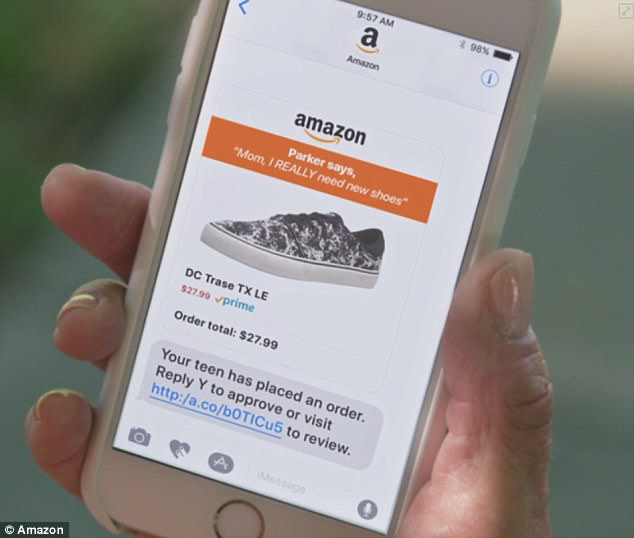 Teens can place orders via the Amazon app, and attach a message to their order, which is sent to the adult account holder