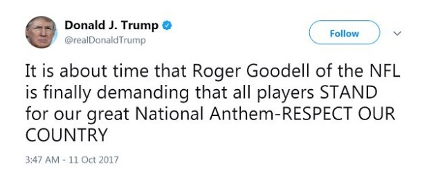 On Twitter, Trump celebrated what he believed to be Goodell changing the NFL policy regarding anthem protests, but a league statement said an official decision has yet to be made