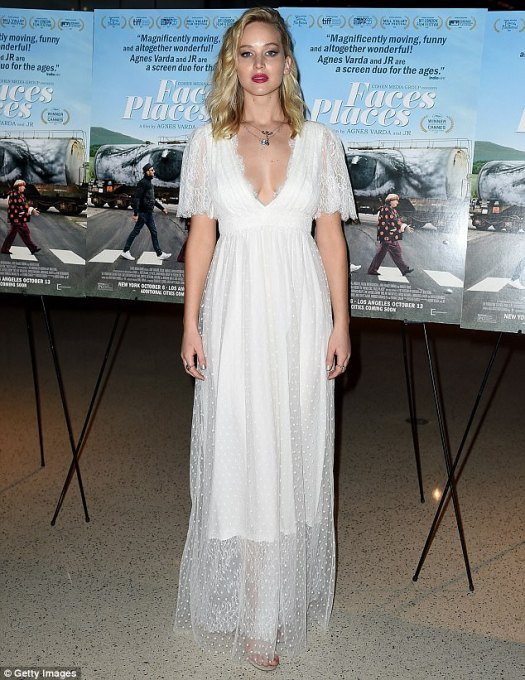 A vision in white! Jennifer Lawrence looked lovely as ever on Wednesday, donning a gauzy gown to the premiere of the film Faces Places in West Hollywood