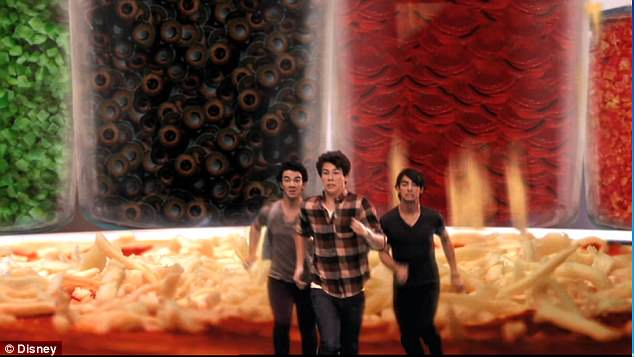 Flashback: It's actually from a Jonas Brothers song Pizza Girl, which appeared on the brothers' Disney Channel show. The music video involved them playing on a giant pizza