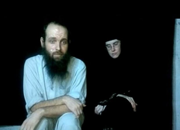 2013: In one of their first videos in captivity, the pair look forlorn as they address the camera. Joshua was drastically thinner than he had been when they were captured and he had a long, unkempt beard