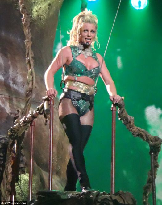 Pop royalty: The songstress showed off her fit physique in a sparkly green number