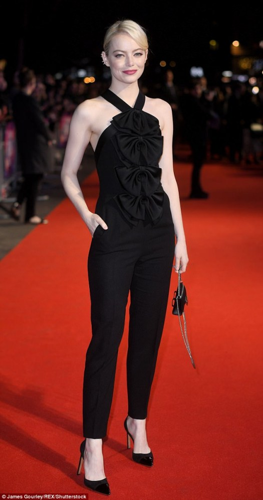 Red carpet ready:The La La Land actress, 28, looked sexily sophisticated as she joined the stars at the BFI premiere of Killing of the Sacred Deer