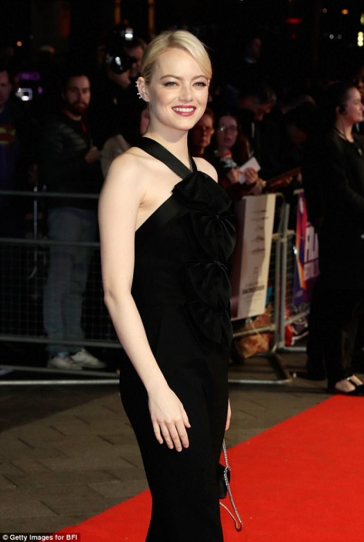 Stunning: Emma Stone certainly shone on the red carpet in London on Thursday night