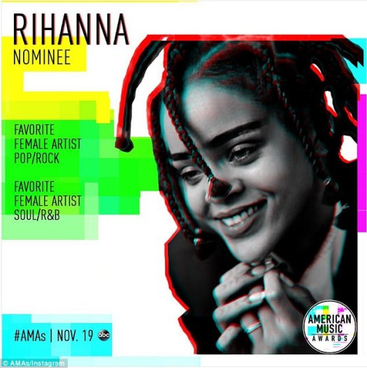 Airs November 19 on ABC! And Rihanna will compete for two American Music Awards trophies - female artist pop/rock and female artist soul/R&B