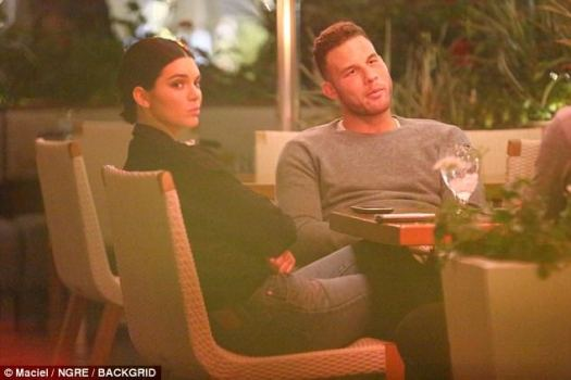 What's up? Kendall Jenner joined rumored boyfriend Blake Griffin for dinner Wednesday night in Beverly HillsBut the 21-year-old reality star looked less than thrilled to be there