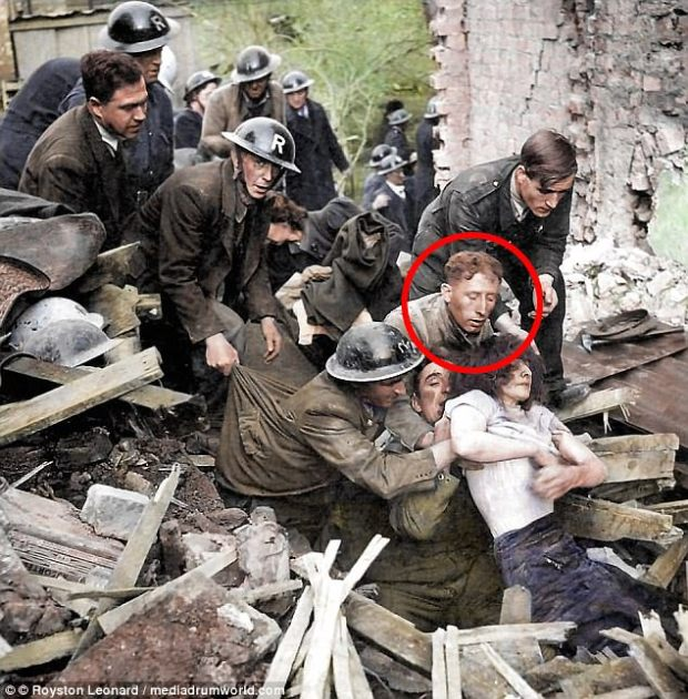 Sapper Albert Robbins was a member of the team pictured rescuing a woman from a bombed air raid shelter in Southampton at the height of the Blitz in 1940