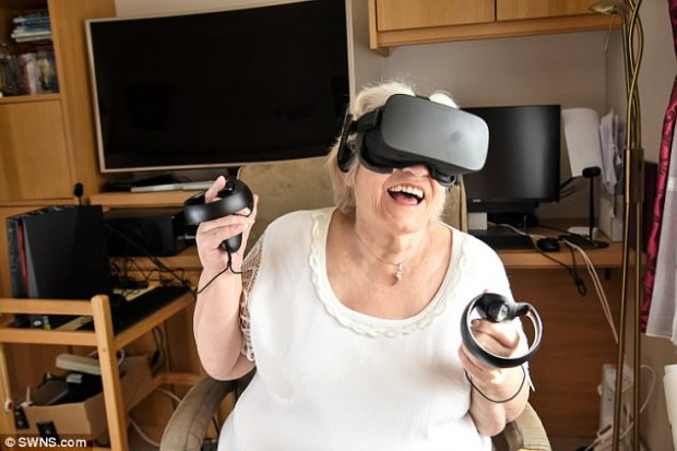 80-year-old grandmother Dorothy Howard (pictured) is travelling the world from the comfort of her living room using a state-of-the-art virtual reality headset