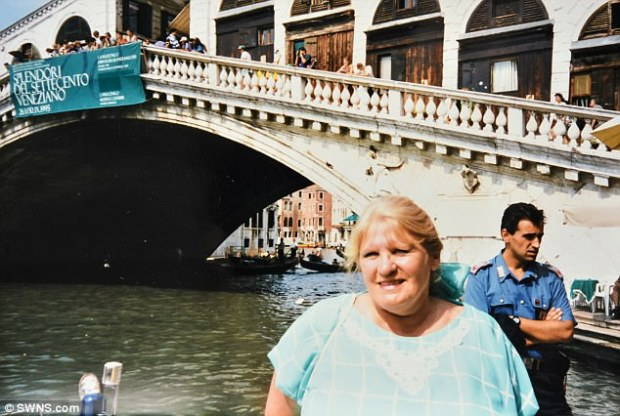 After retiring from the armed forces, the couple ran motels in Australia before moving back to the UK, and settling in the East Midlands. Pictured is Mrs Howard on holiday in Venice in 1988