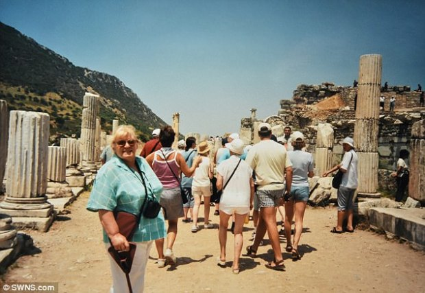 Pictured is Mrs Howard on holiday in Turkey in 1989. She said:'My daughter told me that Mark Zuckerberg had talked about me at the conference, but I don't really know who he is. It's as if I've had an interview with the Pope'