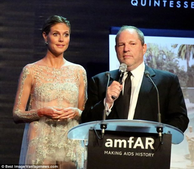 Heidi continued: 'I think it would be hard to find a woman - myself included - who have not been intimidated or threatened by a man using his power, position or his physical stature.' She is pictured with Weinstein at the amfAR gala in Cannes on 2012