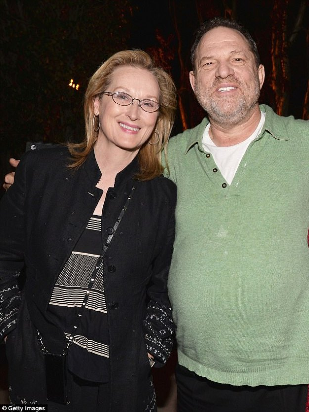 Meryl Streep was 'off grid' when the revelations about Harvey Weinstein's behavior emerged on October 5 and that is why she took so long to respond to them, it has been claimed. The pair are pictured above in 2014