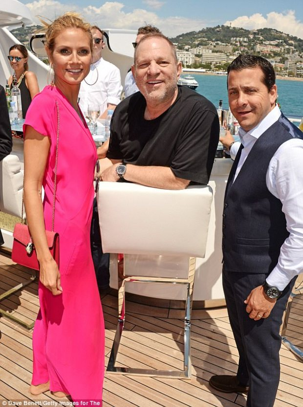Scandal: Weinstein, 65, has faced multiple accusations of sexual misconduct by the likes of Ashley Judd, Rose McGowan, Kate Beckinsale and Cara Delevingne. He is pictured with Klum in May 2016