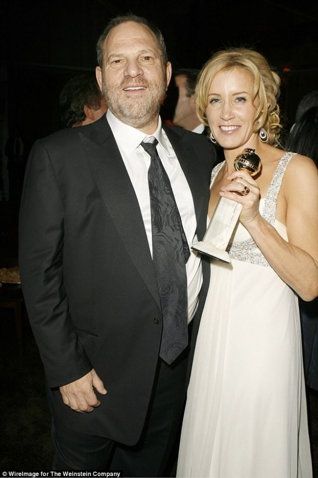 The win: Huffman is pictured holding her Golden Globe for her role Transamerica at The Weinstein Company and Glamour magazine's 2006 after party