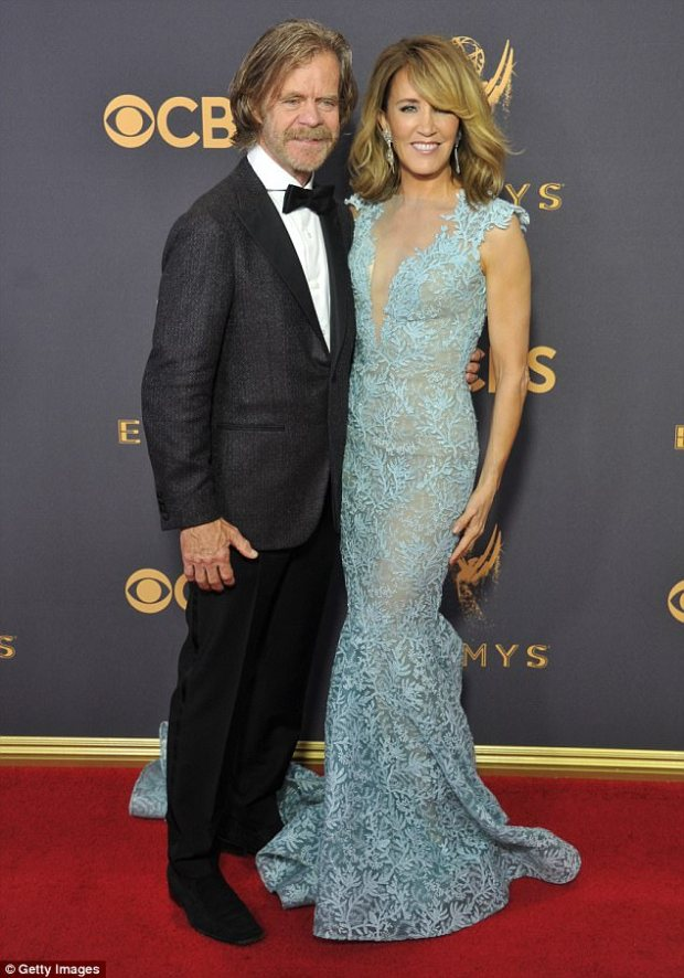 Happy: Felicity has been married to fellow actor William H. Macy for 20 years. The pair, who are pictured at this year's Emmy Awards, celebrated their anniversary in September
