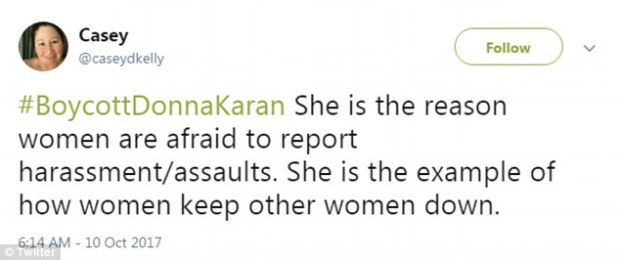 Mea culpa: Karan later claimed her comments had been 'taken out of context' and apologized to anyone who was offended and all victims of abuse