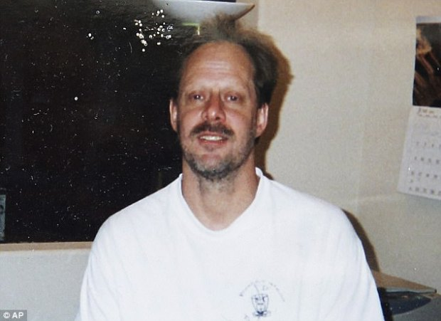 Police say gunman Stephen Paddock (pictured) adjusted his fire to target police vehicles responding to the scene of the mass shooting