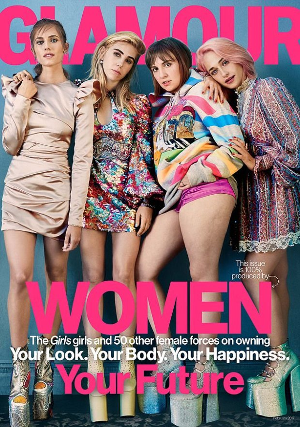 This past January, Dunham and her Girls co-stars Allison Williams, Zosia Mamet, and Jemima Kirke posed for the cover of Glamour