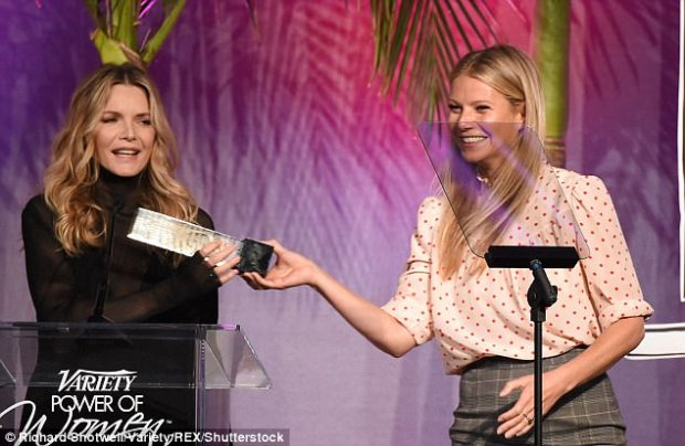 Paltrow introduced Pfeiffer at a luncheon hosted by Variety in Los Angeles on Friday. The publication was honoring ¿five women who are using their clout to bring attention to worthy causes¿