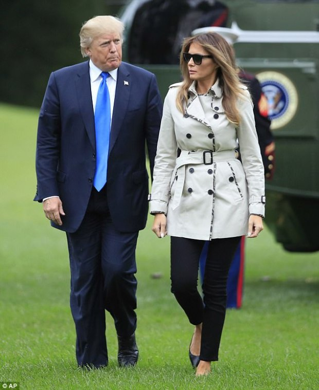 End of the day: The two walked side by side as they headed towards the White House