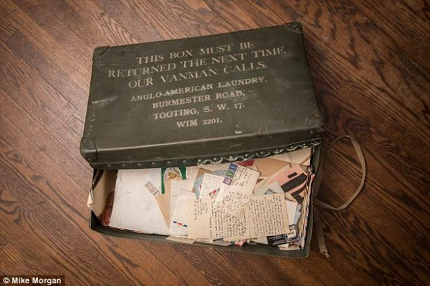 Box of secrets: The documents, found in a Forties laundry box (pictured), also reveal the extraordinary devotion the teenaged Moore showed to van Steyn¿s toddler son while the three of them lived in a tiny attic bedsit in Streatham, South London