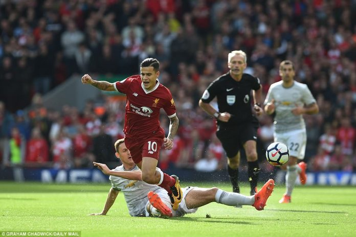 Nemanja Matic put in a thundering tackle on Philippe Coutinho as the tone was set in the early stages of the contest