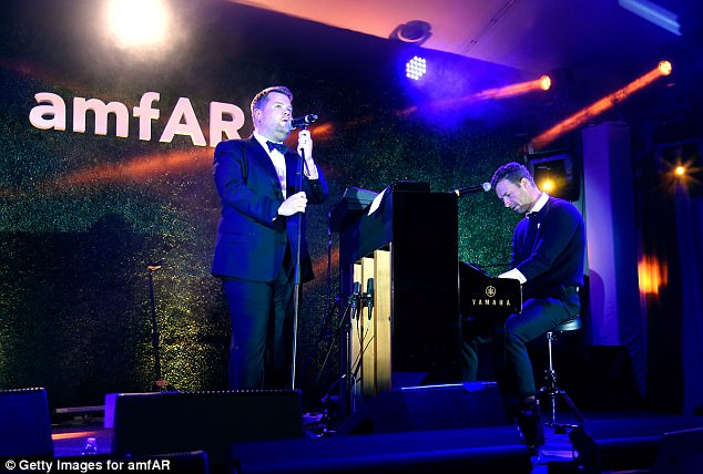 Corden performed with Chris Martin of Coldplay fame at the gala, which raised money for AIDS research