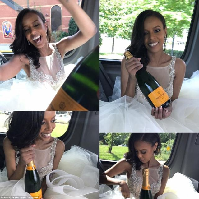 Makonnen took these series of fun shots of his bride celebrating with a bottle of champagne