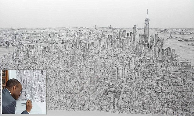 Artist Stephen Wiltshire draws New York City from memory  Daily Mail Online