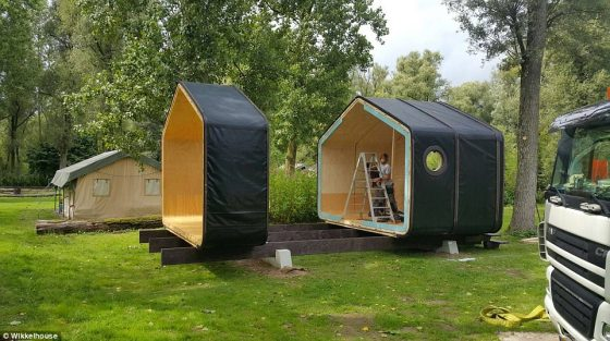 The shelter is built using high-strength, 24-layer-thick cardboard bonded together with eco-friendly superglue