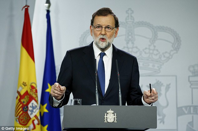 Spain's Prime Minister Mariano Rajoy this afternoon said he would curb the powers of the parliament of Catalonia, sack its government and call an election within six months
