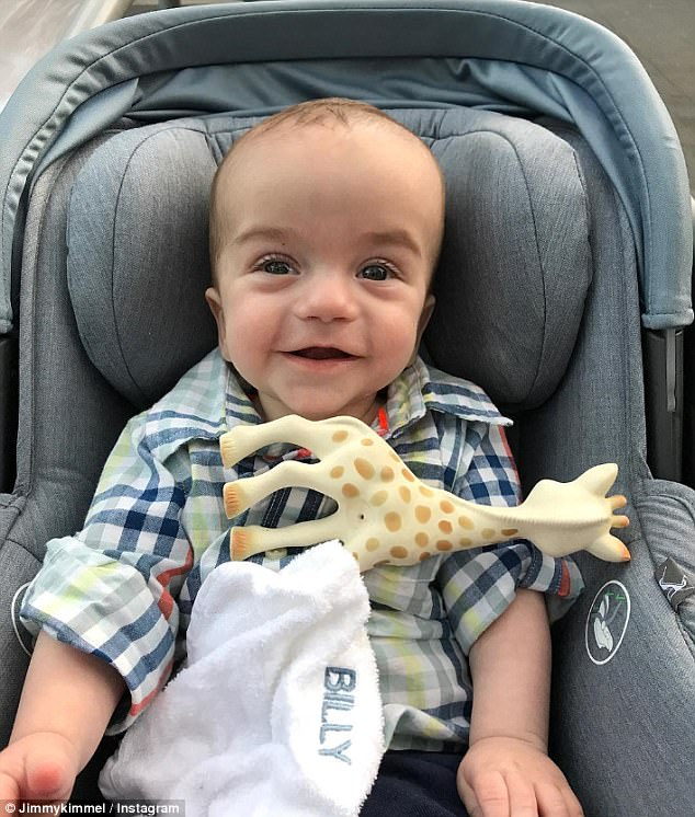On the mend... Jimmy Kimmel took to Instagram on Saturday to inform fans his adorable six-month-old son Billy is doing better after being diagnosed withcongenital heart disease