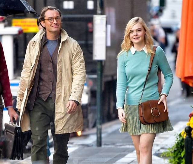 Jude Law 44 And Elle Fanning 19 Filming A Rainy Day In