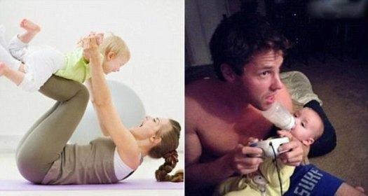 Las fotos también capturan el contraste en las ideas de los padres sobre el tiempo de juego, pero al menos este padre tiene múltiples tareas clavadas