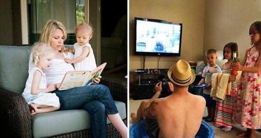 Este chasquido alegre muestra las diferentes maneras en que a los padres les gusta pasar tiempo con sus hijos, aunque la versión del hombre probablemente se creó como una comedia para enviar a su esposa.
