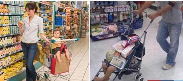 Una de las fotos contrastantes capta hilarantemente a una madre, a la izquierda y a un padre, en un viaje al supermercado con un pequeño