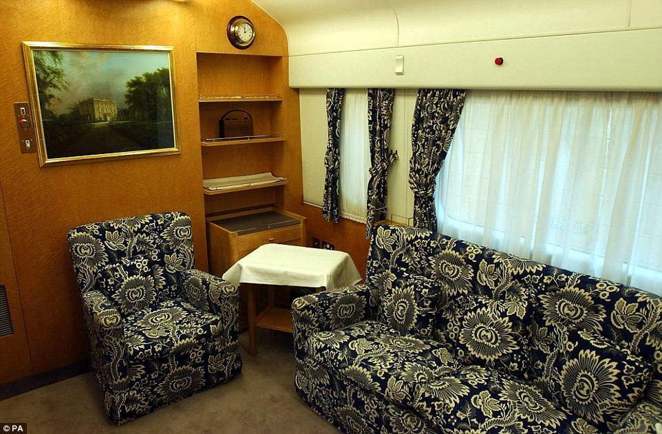 A photo of the Prince of Wales's Lounge on the royal train, taken in 2001, demonstrates how the train has been updated to reflect changing tastes and trends