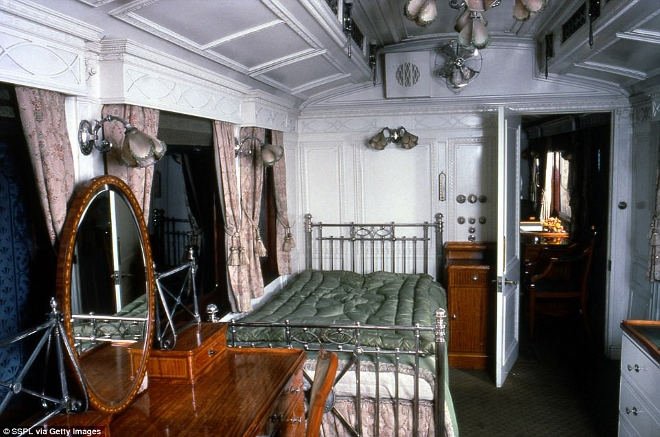 While the train is fitted with several sleeper carriages the locomotive never travels through the night, instead making stops at secret locations away from the mainline so that the royal passengers can sleep uninterrupted. Pictured: Edward VII's sleeper from back in the day