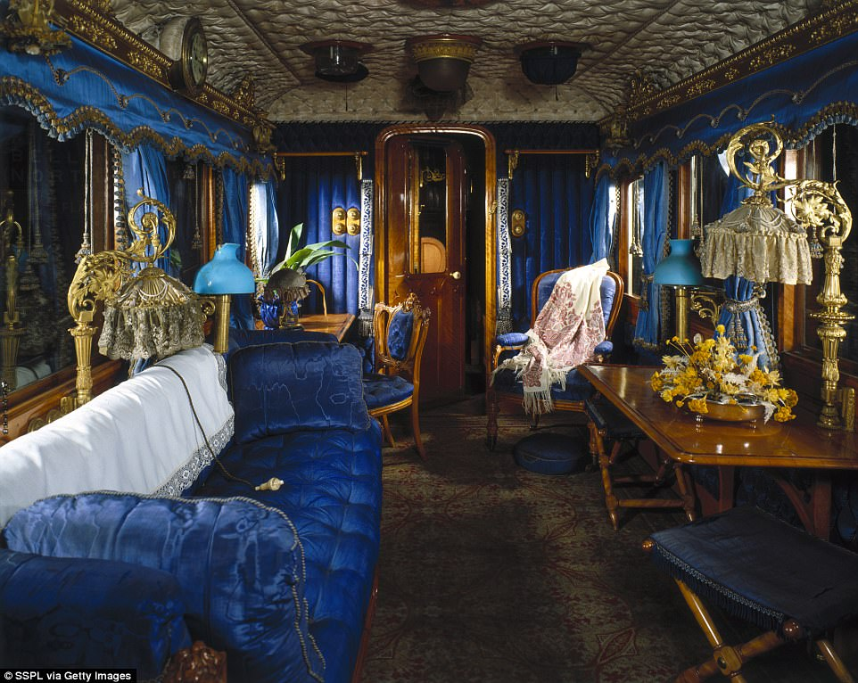 In fact, the train used to look a lot more glamorous in its heyday. Pictured: The royal carriage built in 1869 for Queen Victoria (1819-1901) by the London and North Western Railway at their Wolverton Works in Buckinghamshire